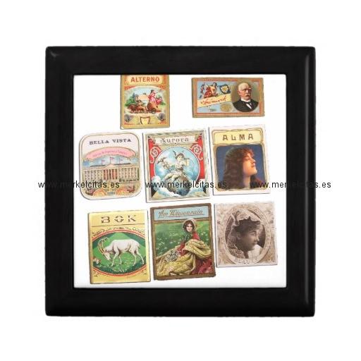 sellos cuba vintage etiquetas memorabilia joyero cuadrado pequeño retrocharms