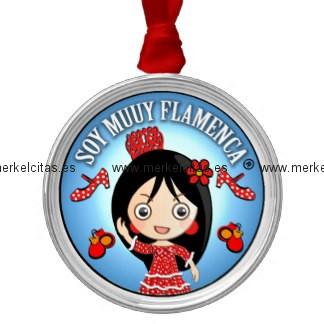 soy muuy flamenca morena y traje gitana rojo adorno navideño redondo de metal retrocharms
