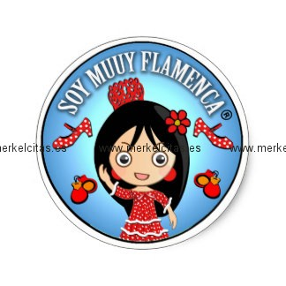 soy muuy flamenca morena y traje gitana rojo pegatina redonda retrocharms