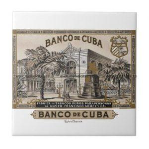 vintage cubano banco de cuba de cuba azulejo cuadrado pequeño retrocharms