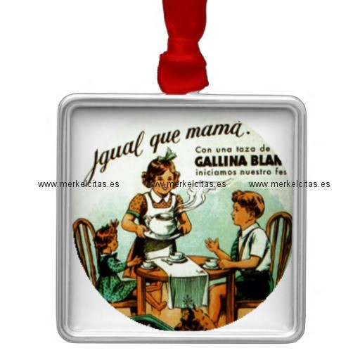 vintage retrocharm sopa antigua adorno navideño cuadrado de metal retrocharms
