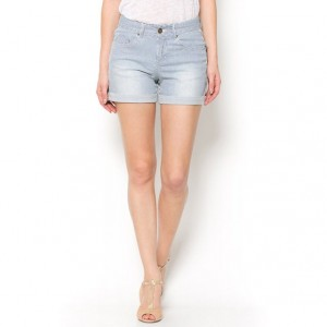 Short con vueltas de denim stretch a rayas de R essentiel 1