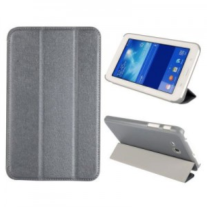 Tri fold Folio Silk Texture Style Leather Stand Cover Case for Samsung Galaxy Tab 3 Lite T110-T111