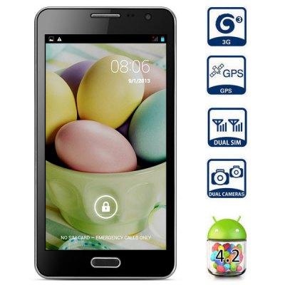 JIAKE N900W 5.5 inch 3G Phablet Android 4.2 MTK6582 Quad Core 1.3GHz 1GB 4GB ROM QHD Screen Gesture Sensing Dual Cameras GPS