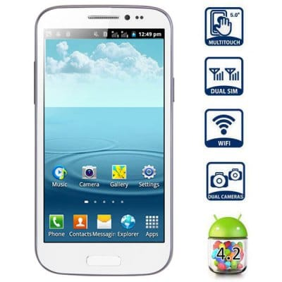 GT T9500 5.0 inch Phablet Android 4.2 SP6820 1GHz WVGA Screen WiFi Dual SIM Dual Camera