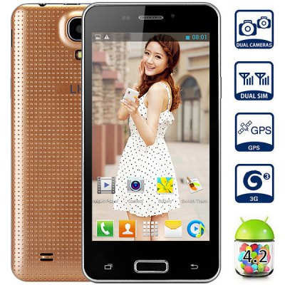 LKD F5 Android 4.2 3G Unlocked Phone MTK6572 Dual Core 1.0GHz 4GB ROM GPS with 4.5 inch WVGA Screen
