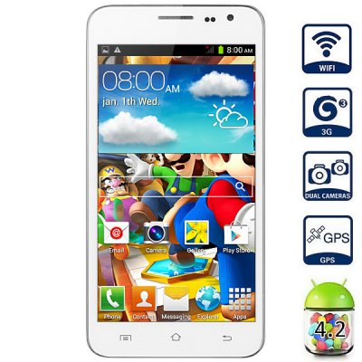 G3 Android 4.2 3G Phablet with 5.0 inch WVGA Screen MTK6572 1.3GHz Dual Core 4GB ROM GPS Dual Cameras