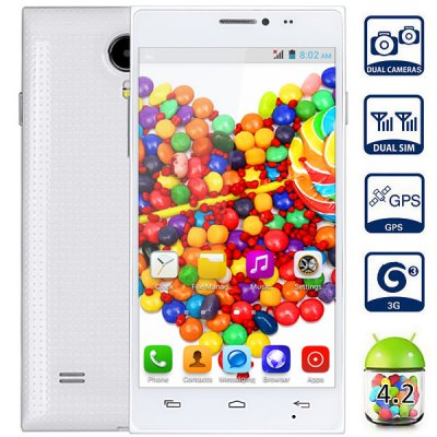 X909 Android 4.2 3G Phablet with 5.0 inch WVGA Screen MTK6572 1.2GHz Dual Core 4GB ROM GPS Dual Cameras