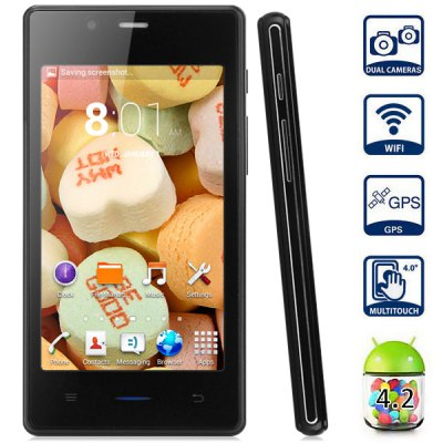 Z3 Android 4.2 Smartphone with 4.0 inch WVGA Screen MTK6572 1.2GHz Dual Core WiFi GPS Dual Cameras