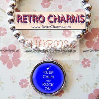 Pulsera elastica de bolitas Keep Calm Rock Azul