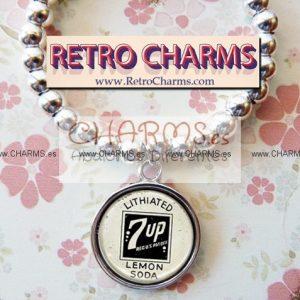 Pulsera elastica de bolitas Chapa 7Up Vintage