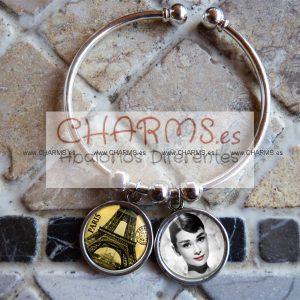 Pulsera Vintage con 2 RetroCharms Paris y Audrey