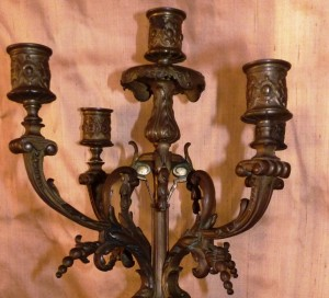 candelabros bronce antiguo
