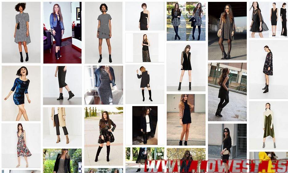 vestido negro botines zara