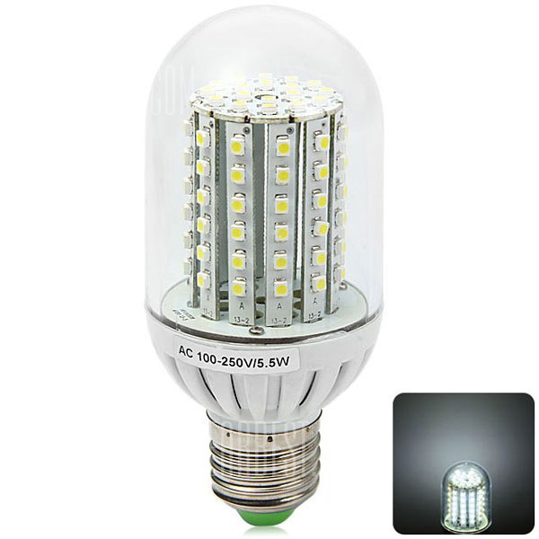 E27 600LM 5,5 W 90 x 3528 SMD 6000 - 6500K LED Luz de maiz con tapa traslucida