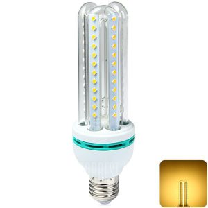 18W E27 3U 66 SMD 1650LM2835 LED Lampara de maiz Spotlight lampara CFL Sustitucion - Blanco calido.