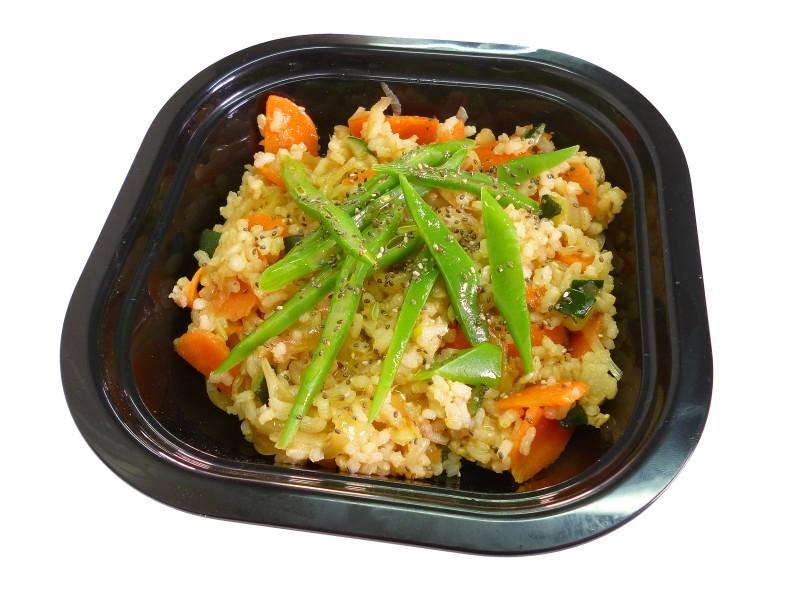 Wok de arroz integral quinoa y semillas de chia