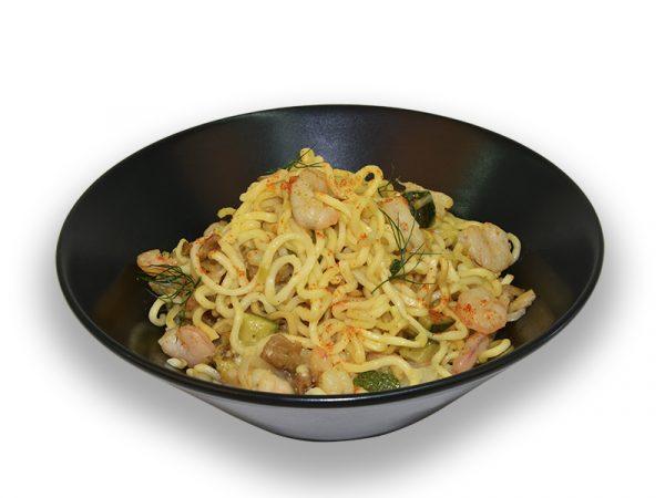 Noodles con gambas y verduras