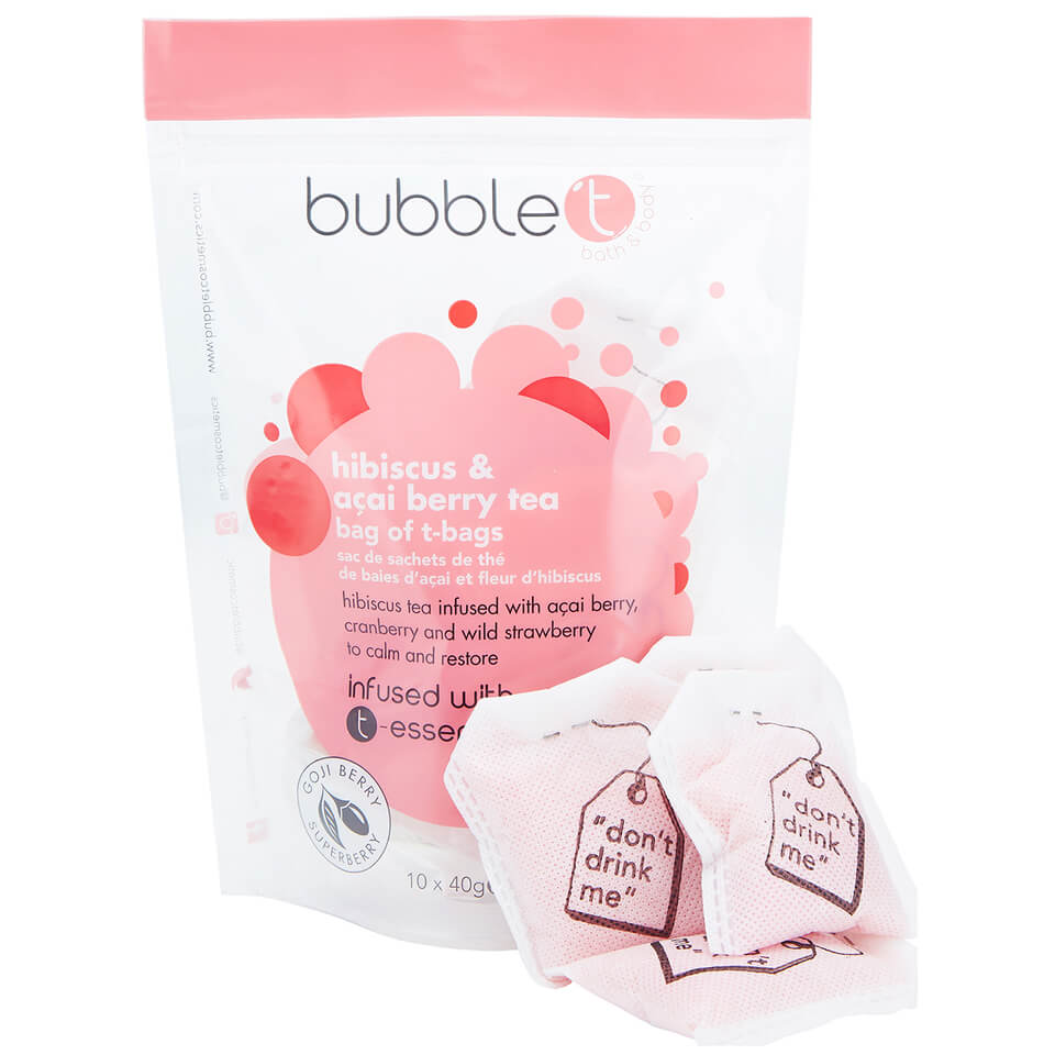 Bubble T Bath Infusion T-Bags - Hibiscus & Acai Berry Tea 10 x 40g