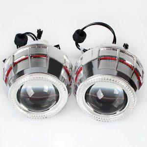 Super brillante Angel Eyes Dual se ilumina en rojo y azul 5W HID 6000K Bi - lente del proyector Xenon faros de luz alta/baja para una motocicleta