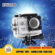 DV200 WiFi FHD 1080p LCD de 1,5 pulgadas DVR coche Accion Deporte camara DV con cargador de coche y soporte impermeable 30M