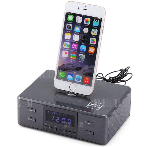 D9 Mando a distancia portatil Wireless Bluetooth Reloj alarma Micro USB 8 pin y 30 Pin Interface El sistema de altavoces de musica con radio FM