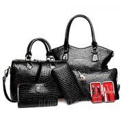 Elegante diseño de impresion de cocodrilo y Zip de Mujeres de Color solido Tote Bag