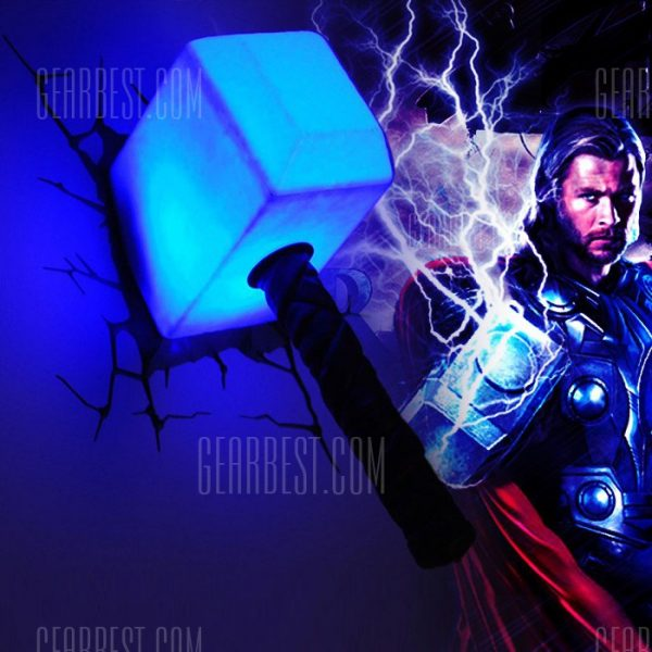 Luz de pared 3D de los vengadores martillo de Thor
