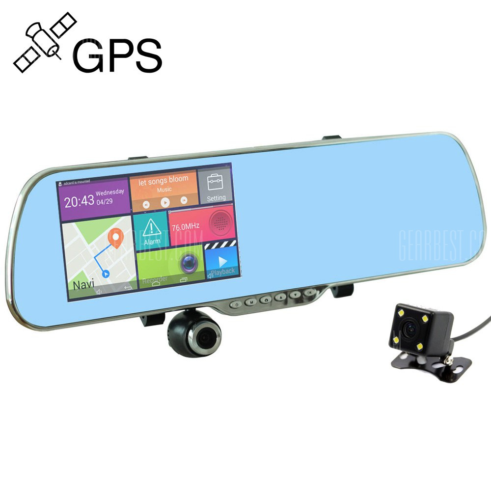 V60-16GB 5MP 5.0 pulgadas camara retrovisora DVR coche GPS Navigator