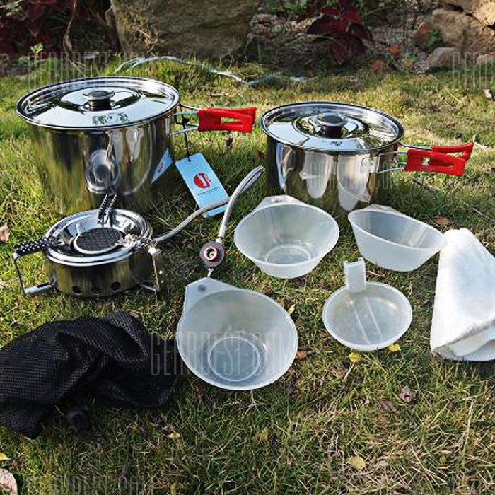 Lelvjie LJ - Acero Inoxidable 9022 ocho piezas Set de camping