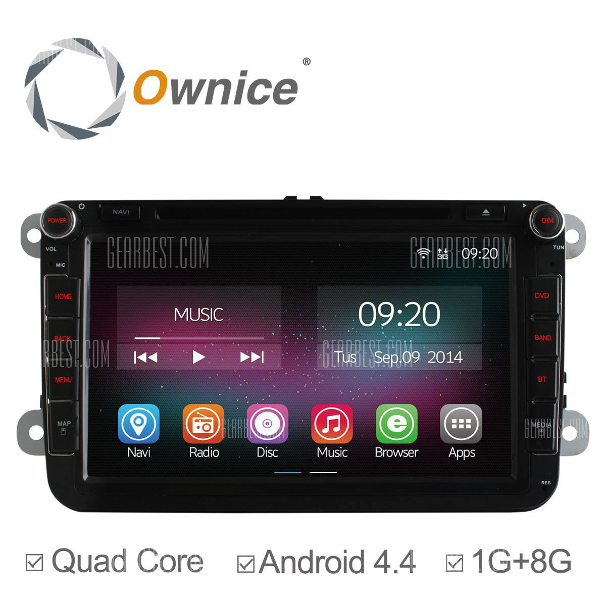 C200: Ownice OL - 8901un Android 4.4.2 8,0 pulgadas coche DVD GPS Reproductor multimedia