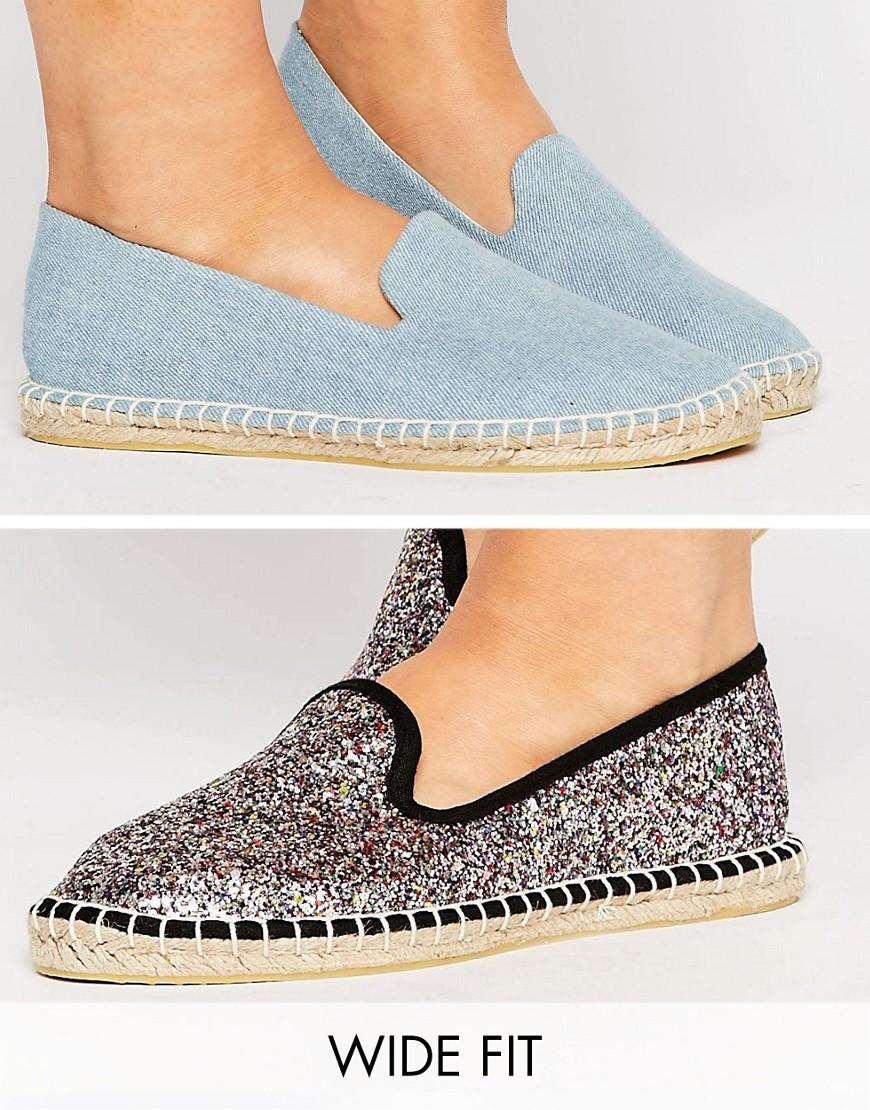 Pack de dos pares de alpargatas de corte ancho JEANIE en ofertas calzado