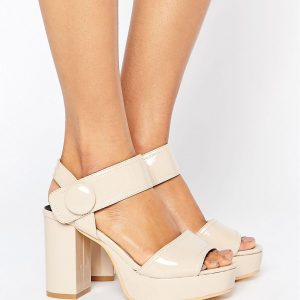 Sandalias con plataforma en nude de Lost Ink Wide Fit