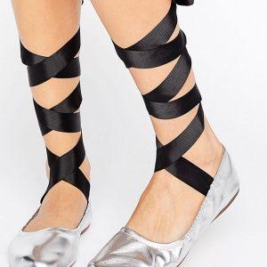 Bailarinas metalizadas con cordones de Pull&Bear