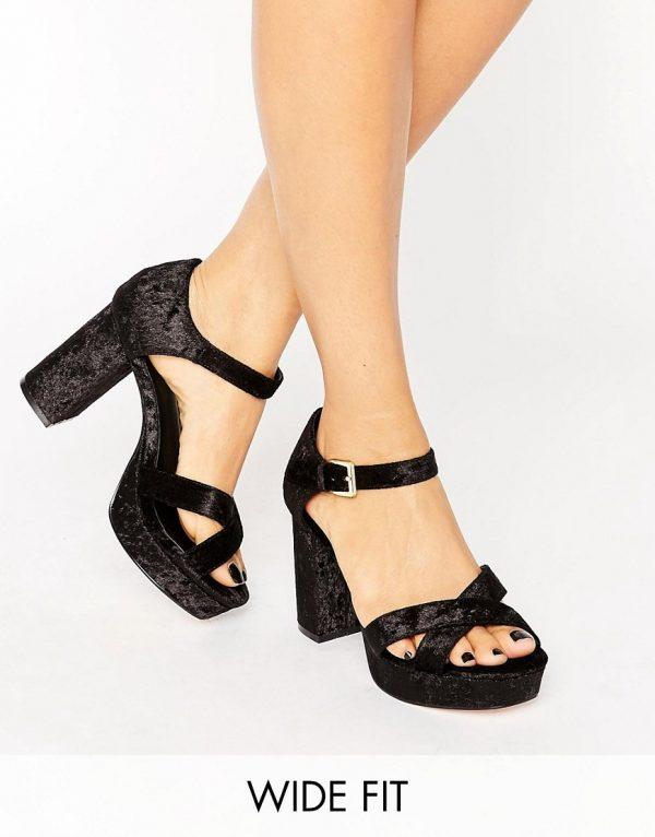 Sandalias de tacon de corte ancho de terciopelo HUMMINGBIRD en ofertas calzado