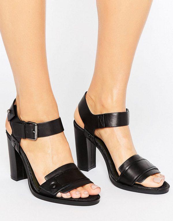 Sandalias de tacon de cuero negro Claro de G-Star