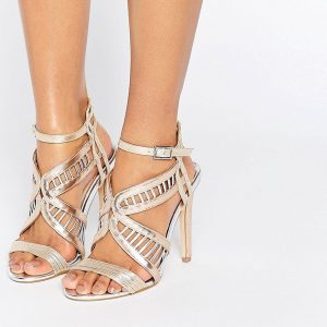 Sandalias de tacon metalizadas Fox de Miss KG