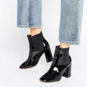 Botas Chelsea altas de charol de New Look