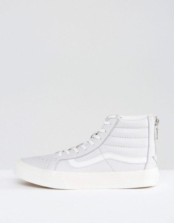 Zapatillas de deporte de cuero con cremallera en gris Sk8 Hi de Vans