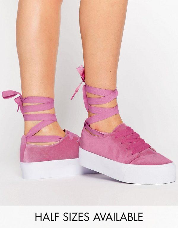 Zapatillas de deporte de terciopelo con lazada en la pierna DENVER en ofertas calzado