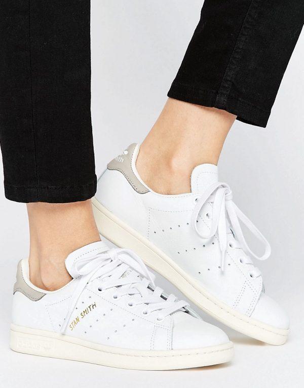 Zapatillas de deporte en blanco y gris Stan Smith de adidas Originals