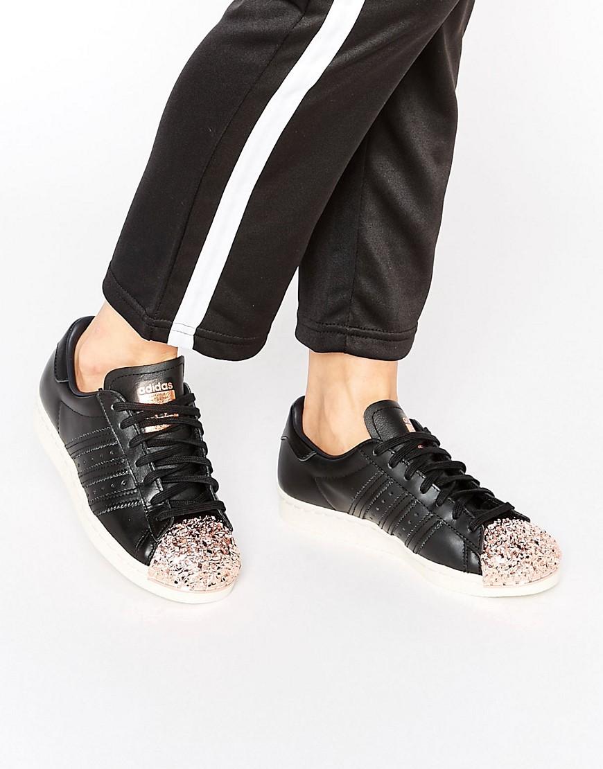 Zapatillas de deporte negras con puntera metalizada en cobre Superstar de adidas Originals