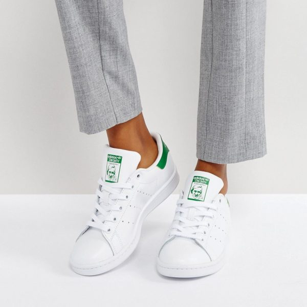 Zapatillas de deporte unisex en blanco y verde Stan Smith de adidas Originals