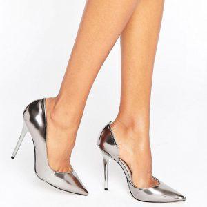 Zapatos de salon de efecto espejo en peltre Shadow de Office
