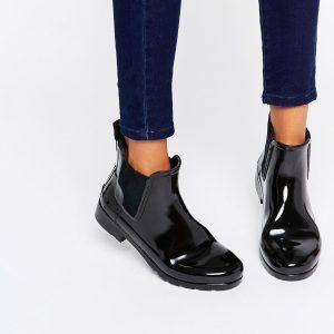 Botas de agua clasicas estilo Chelsea en color negro brillante Refined de Hunter Original