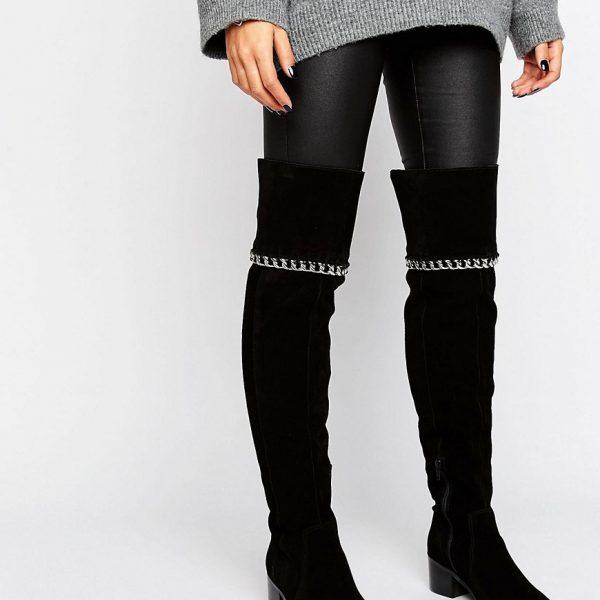Botas por encima de la rodilla de ante con cadena KEETA en ofertas calzado