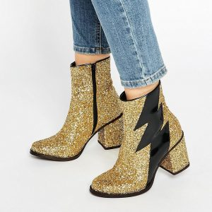 Botines con tacon en brillo dorado Thunder de House of Holland