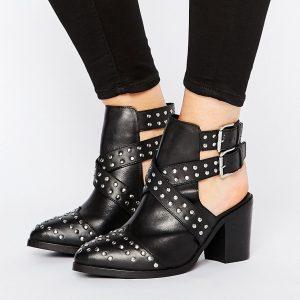 Botines de cuero de corte ancho con aberturas y tachuelas ROCKY en ofertas calzado