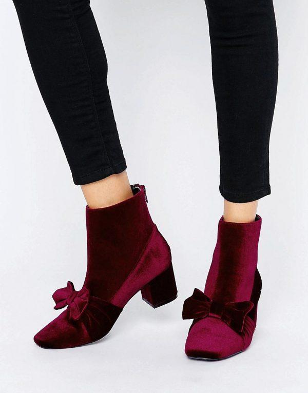 Botines de terciopelo con lazo RAYAL en ofertas calzado