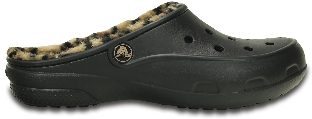 Crocs Mule Mujer Negros / Gold Crocs Freesail Leopard Fuzz Lined